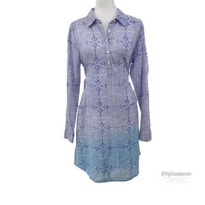 Roberta Roller Rabbit Block Print Shirtdress S EUC